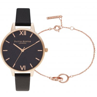 Ladies Olivia Burton Glitter Dial Black & Rose Gold With Classic Chain Bracelet Rose Gold Gift Set OBGSET54