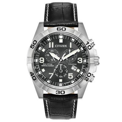 Mens Citizen Eco-drive Super Titanium Perpetual Calendar Alarm Chronograph Titanium Watch BL5551-14H