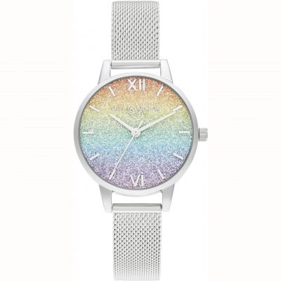 Ladies Olivia Burton Rainbow Glitter Dial Watch OB16GD69