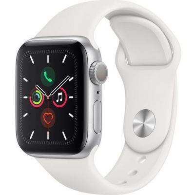 Apple Watch Series 5 GPS, 40mm Silver Aluminium Case with White Sport Band MWV62B/A