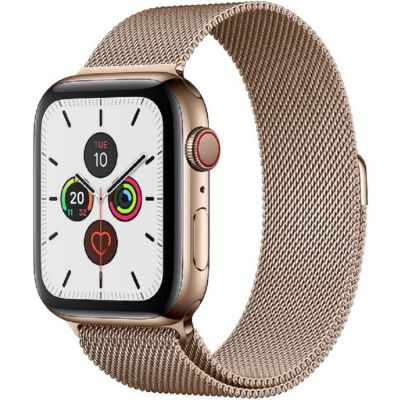 Apple Watch Series 5 GPS + Cellular, 44mm Gold Stainless Steel Case with Gold Milanese Loop MWWJ2B/A
