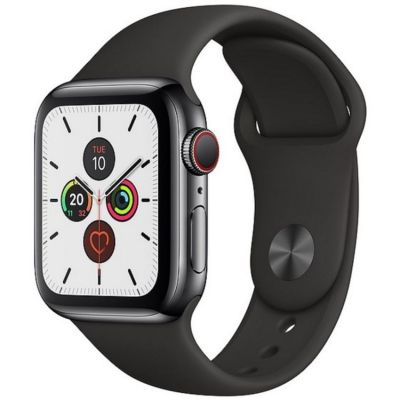 Apple Watch Series 5 GPS + Cellular, 40mm Space Black Stainless Steel Case with Black Sport Band MWX82B/A