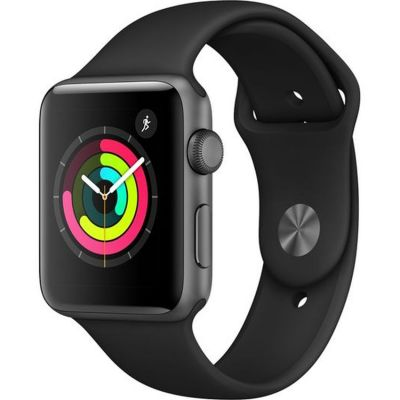 Apple?Watch Series?3 GPS, 42mm Space Grey Aluminium Case with Black Sport Band MTF32B/A