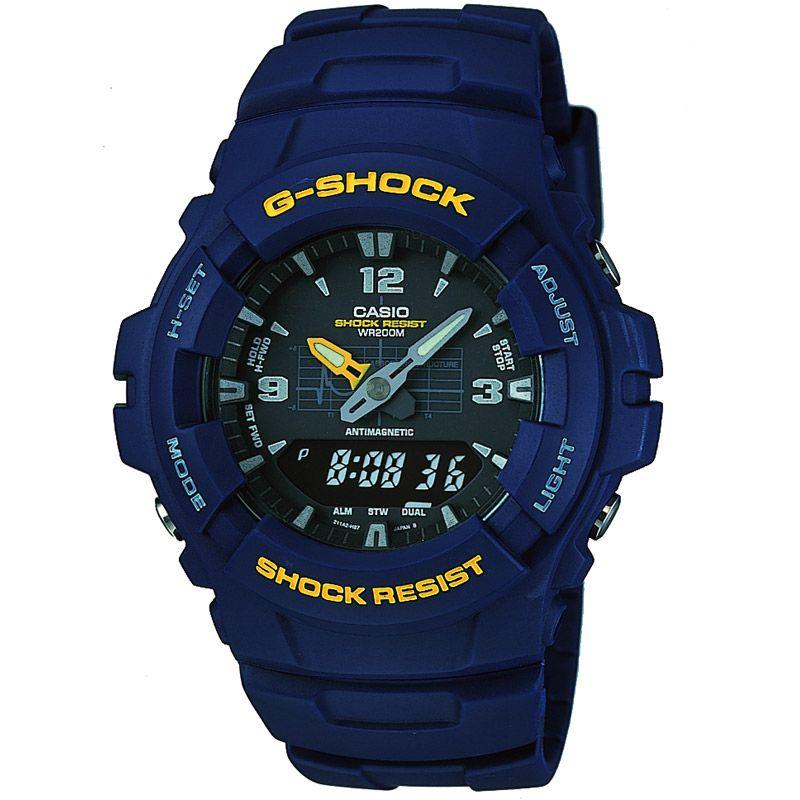 homme Casio G-Shock Antimagnetic Alarm Chronograph Watch G-100-2BVMUR