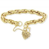 Victorian Prince of Wales Charm Bracelet with Embossed Links and Heart Padlock 7.5/19cm