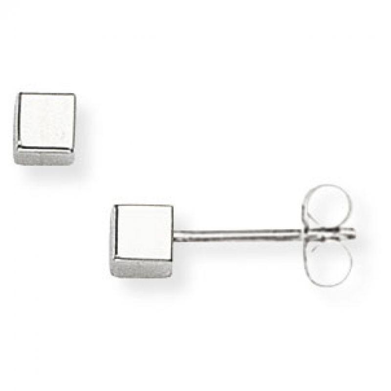 White Gold Cube Stud Earrings