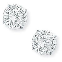 White Gold Claw-set 7mm Cubic Zirconia Stud Earrings