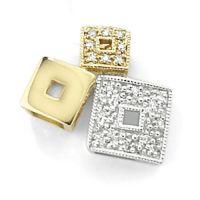 White and Yellow Gold Diamond Cube Pendant