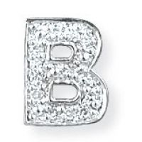White Gold Diamond B Initial Pendant