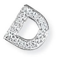 White Gold Diamond D Initial Pendant
