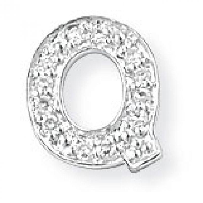 White Gold Diamond Q Initial Pendant