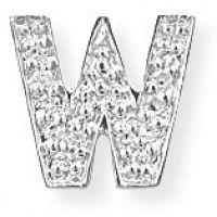 Weißgold Diamant W Initiale Anhänger