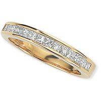 0.50ct tw VS Prinzessinnenschliff Halbe-Ewigkeit-Diamant Ring Größe N