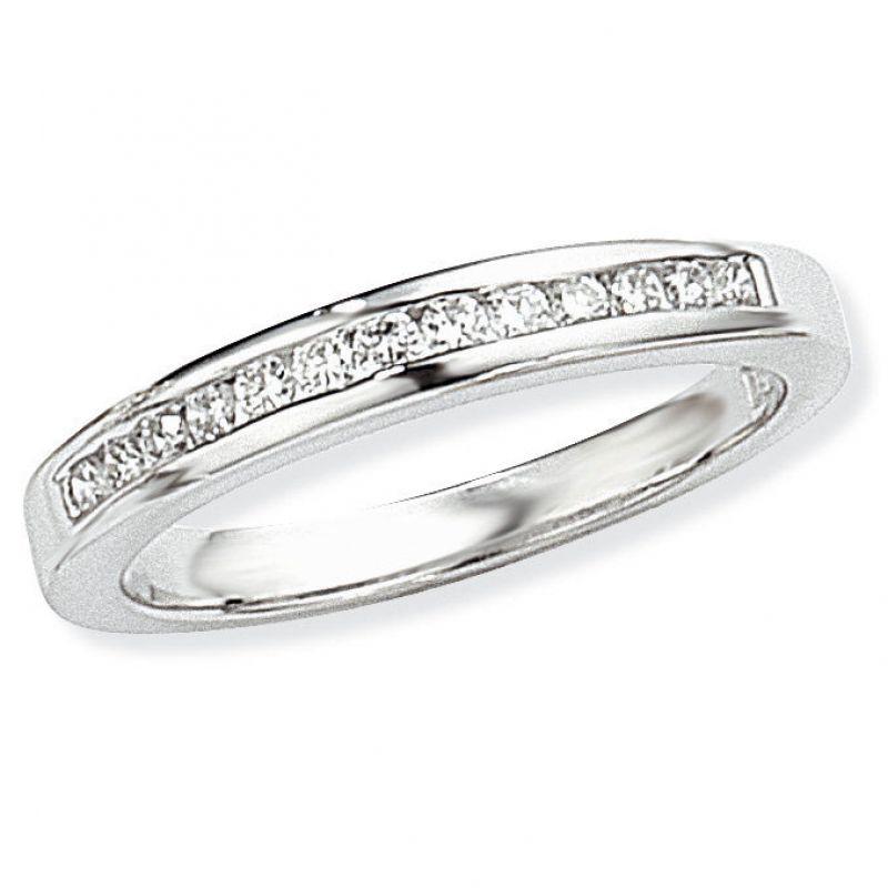 White Gold 0.25ct tw VS Brilliant-cut Half Eternity Diamond Ring Size P