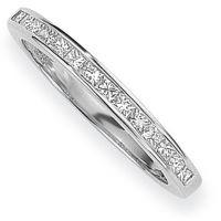 White Gold 0.15ct tw VS Princess-cut Half Eternity Diamond Ring Size P