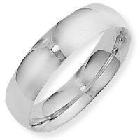 White Gold 6mm Essential Court-Shaped Band Size N