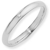 White Gold 3mm Essential Court-Shaped Band Size L