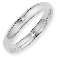 White Gold 4mm Essential Court-Shaped Band Size P