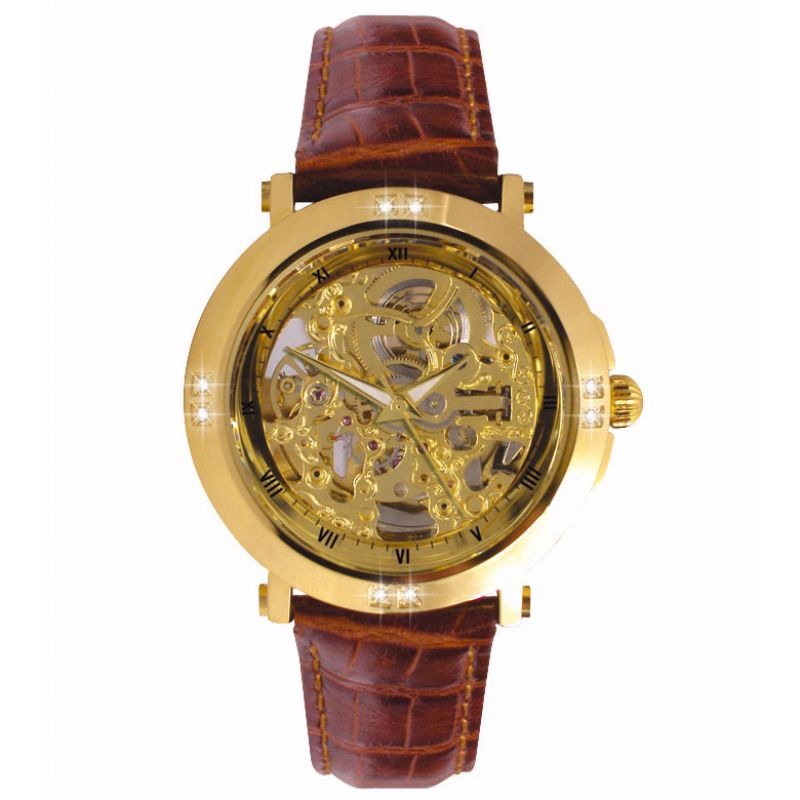 Mens Sekonda Skeleton Automatic Diamond Watch