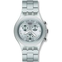 Mens Swatch Full-Blooded Silver Chronograph Watch