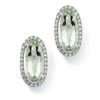 Weißgold Diamant und Grün Amethyst Ohrringe