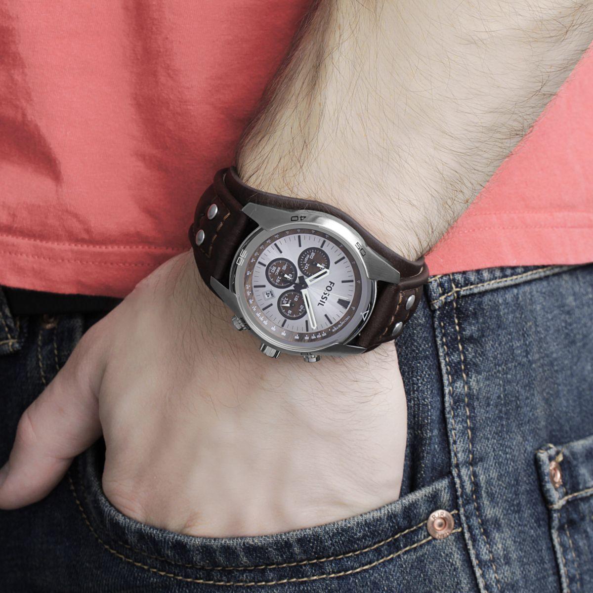 Hommes Fossil Coachman Chronographe Bracelet Rigide Montre