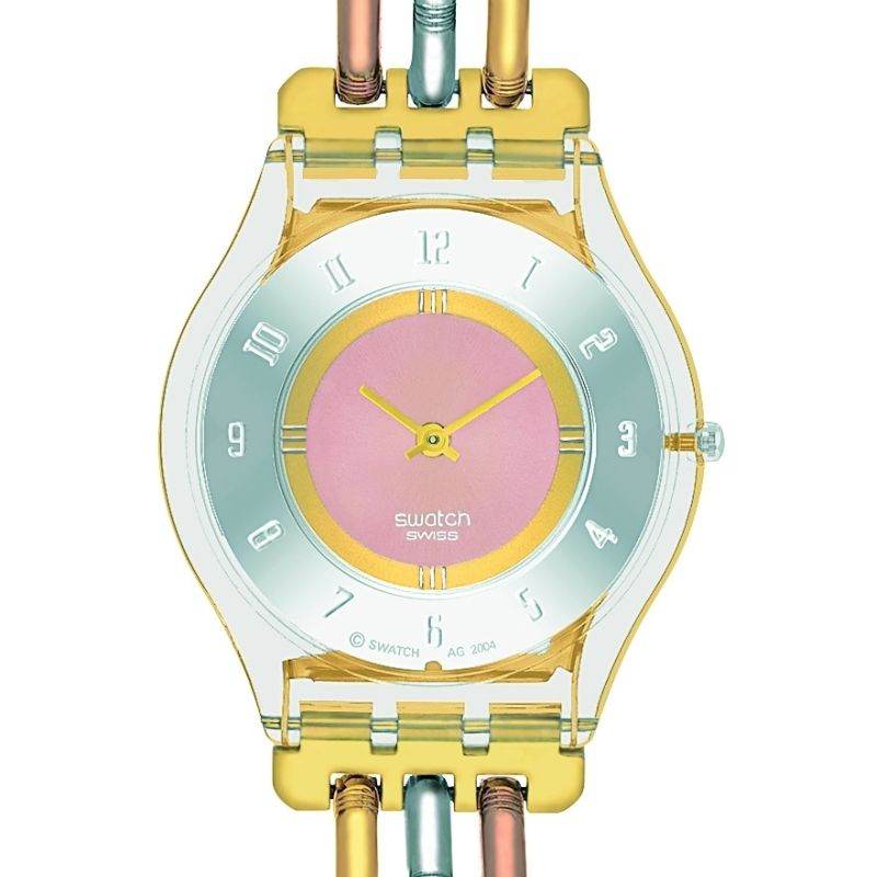 Damen Swatch Skins Tri-Gold Watch SFK240A