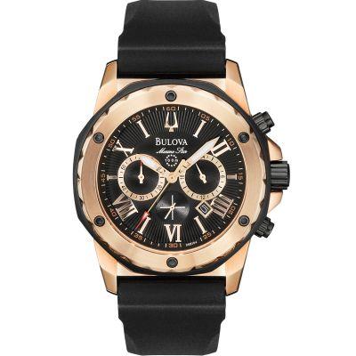 Mens Bulova Quartz Marine Star Chronograph PVD rose plating Watch 98B104