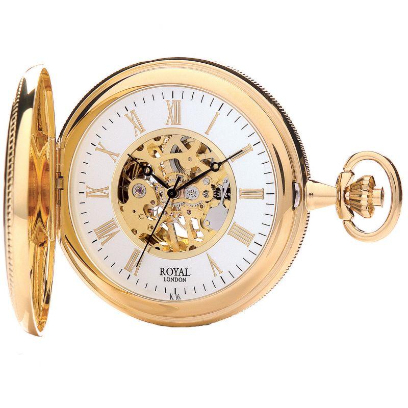 Royal London Half Hunter Pocket Skeleton Mechanical Watch
