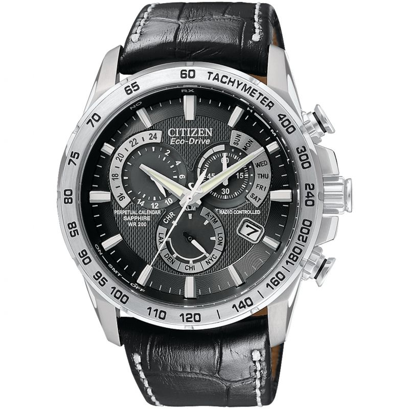 Herren Citizen Chrono Perpetual A-T Alarm Chronograph Radio Controlled Eco-Drive Watch AT4000-02E