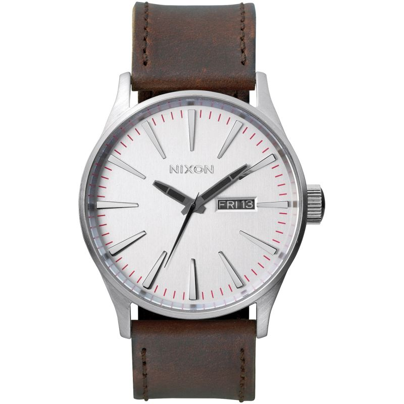 Nixon The Sentry Leather Herrklocka Brun A105-1113