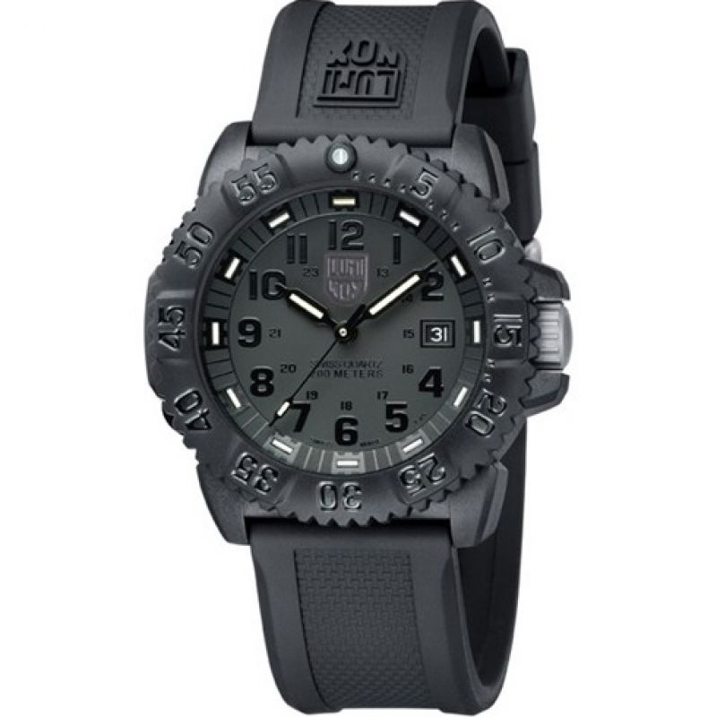 Mens Luminox Navy SEAL Colormark 3050 Series Blackout Watch A3051.BO1