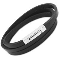 Biżuteria męska Unique & Co Black Leather Bracelet B36BL/63CM