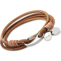 Unique Dam Natural Leather Bracelet Rostfritt stål B67NA/19CM