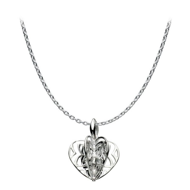 Ladies Kit Heath Sterling Silver 3d Cut Out Heart Necklace 90070HP004