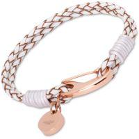 Damen Unique PVD Rosa plating Weiß Leder bracelet Steel Shrimp Verschluss IP Rose