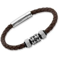 Unique Unisex Dark Brown Leather Bracelet Roestvrijstaal B91DB/21CM