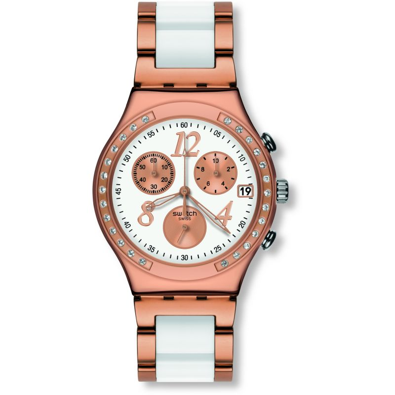 Ladies Swatch Dreamwhite Rose Chronograph Watch