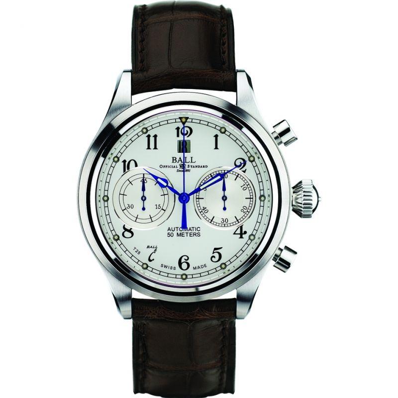 Herren Ball Trainmaster Cannonball Chronograph Watch CM1052D-L1J-WH