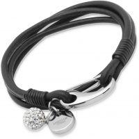 Ladies Unique Stainless Steel Black Leather Bracelet 19cm B152BL/19CM