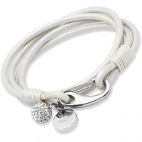 Damen Unique Edelstahl Perle Leder Armband 19cm