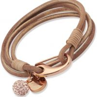 Ladies Unique PVD rose plating Natural Leather Bracelet 19cm B153NA/19CM