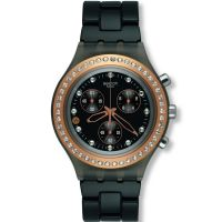 femme Swatch Full-Blooded Stoneheart Black Chronograph Watch SVCM4008AG