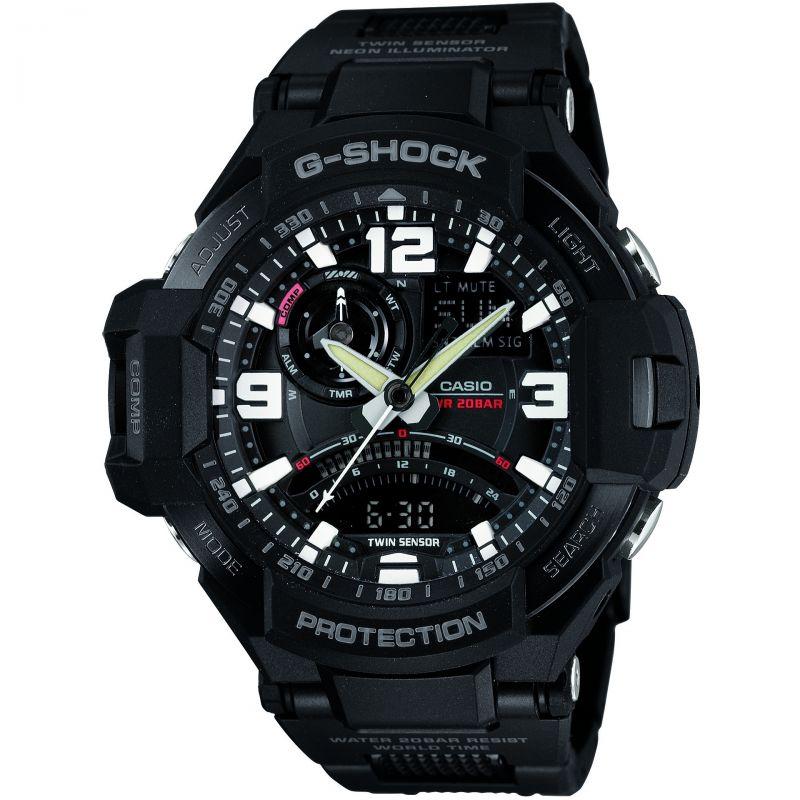 homme Casio G-Shock Premium Sky Cockpit Alarm Chronograph Watch GA-1000FC-1AER