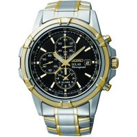 Mens Seiko Alarm Chronograph Solar Powered Watch