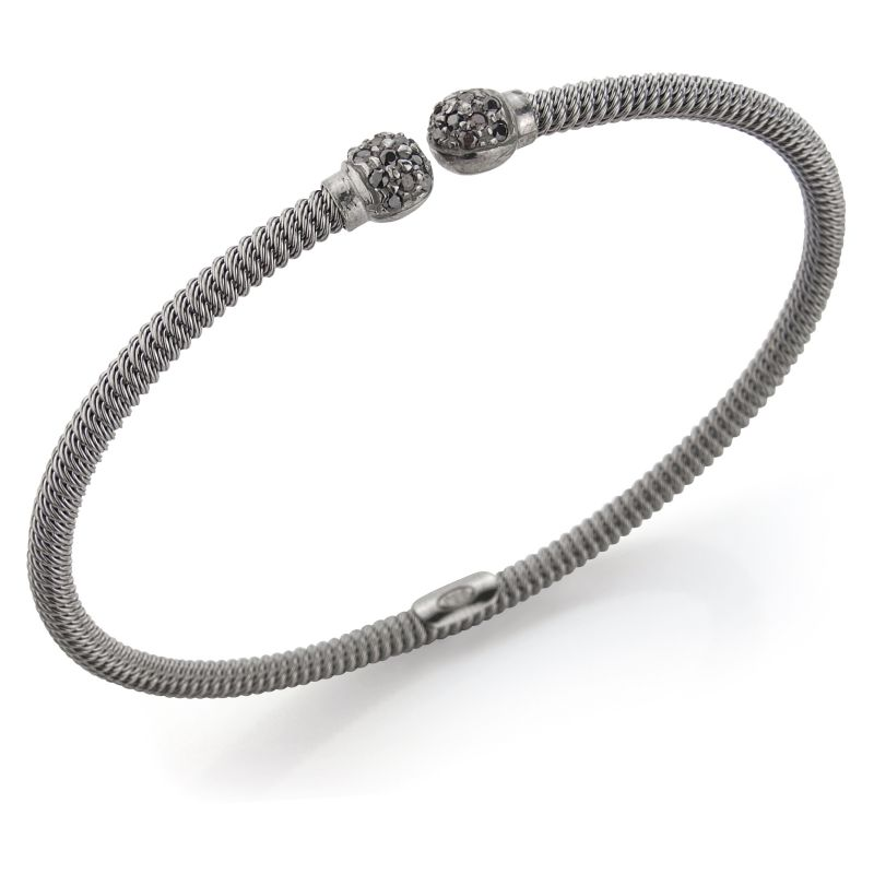 Jewellery Sterling Silver Charcoal Galvanised Ribbed Cubic Zirconia-set Bangle