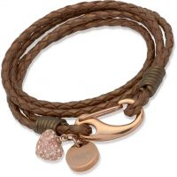 Ladies Unique PVD rose plating Bronze Leather Bracelet B156BR/19CM