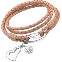 Ladies Unique & Co Stainless Steel Natural Leather Bracelet