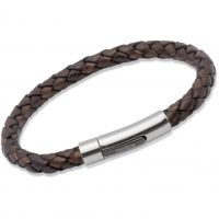 Unique Edelstahl antik dunkel Braun Leder Armband