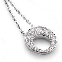 Weißgold und Pave-set Diamant Halsschmuck 17in/43cm